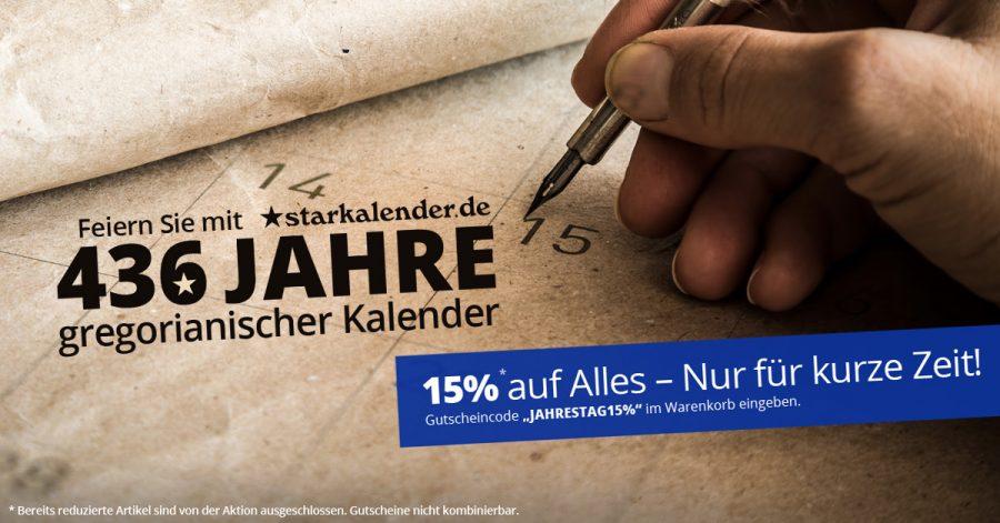 Starkalender.de feiert den 436ten Jahrestag des gregorianischen Kalenders. 15% Rabatt auf Alles!