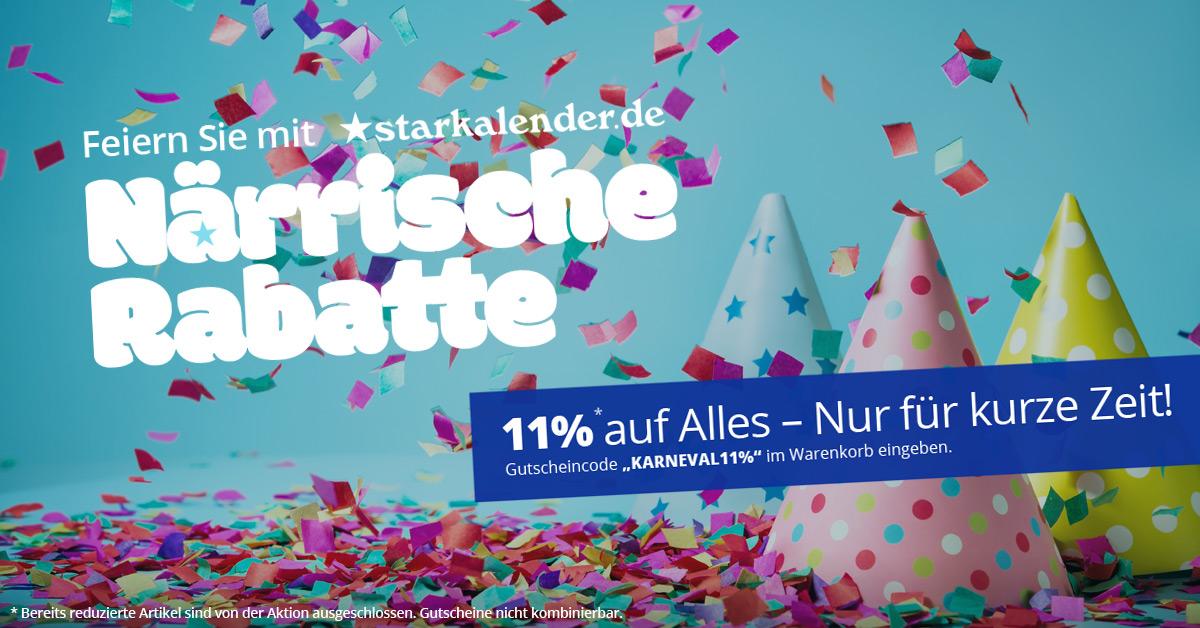 Karneval bei Starkalender - Jetzt 11% Rabatt auf Alles !
