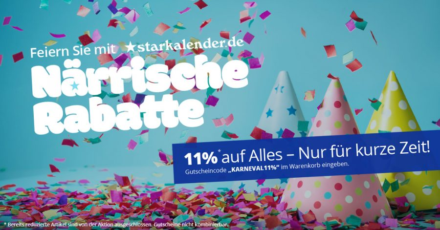 Karneval bei Starkallender - Jetzt 11% Rabatt auf Alles !