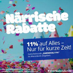 Karneval bei starkalender.de - Jetzt 11% auf Alles !