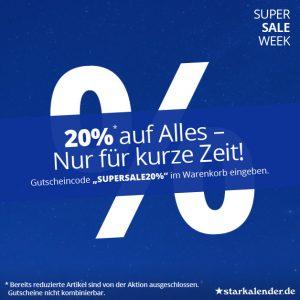 20% auf Alles - Super Sale Week auf starkalender.de